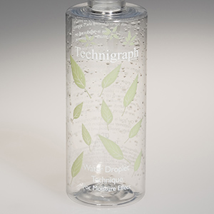 Bottle decorated with water droplet inks