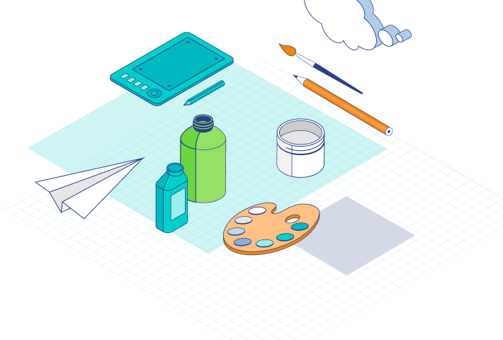 Illustration of paints, bottles, paint brushes and clouds