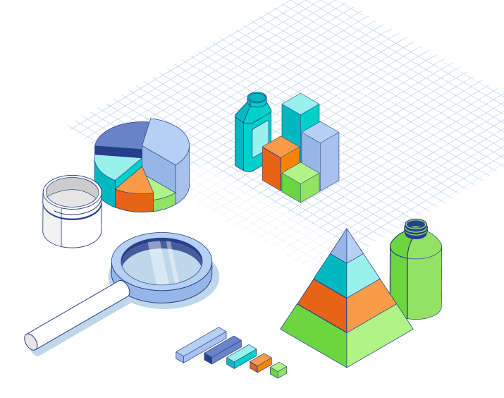 Illustration of multi colored graphs, pyramid, and bottles