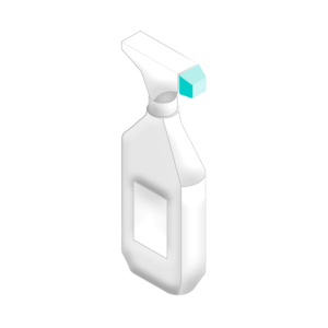 3D Illustration of sprayer and bottle
