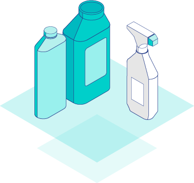 Illustration of automotive chemical bottles
