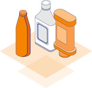 Illustration of food and beverage bottles