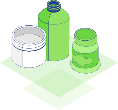 Illustration of household chemical bottles