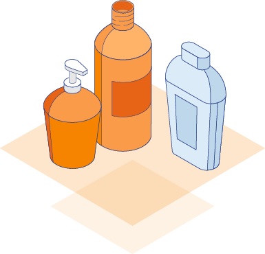 Illustration of personal care bottles