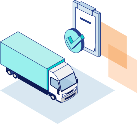 Illustration of semi truck