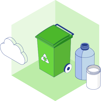 Illustration of recycle can with bottles and clouds