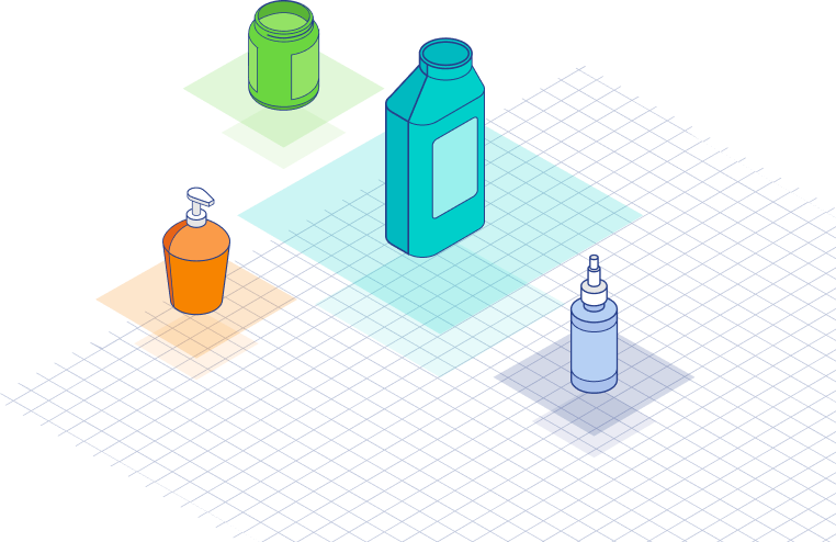 Illustration of 4 different colored bottles