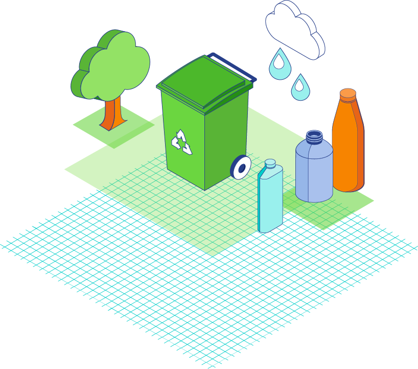 Illustration of plastic bottles and recycle bin